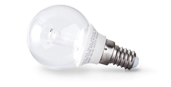 A closeup of an LED lightbulb, which uses 85% less energy than traditional incandescent bulbs.