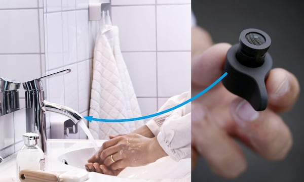 A closeup of the affordable black MISTELN water nozzle, which can be easily installed on all standard sink taps.