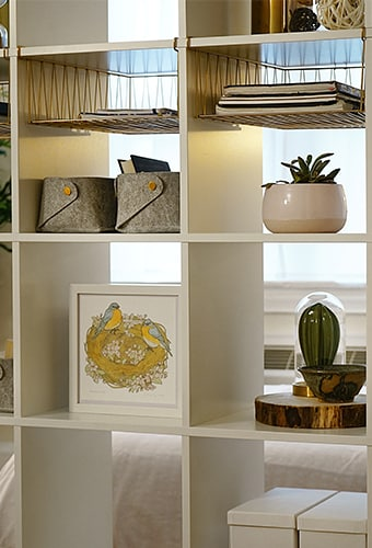 a closeup of the KALLAX shelving unit with plants, framed artwork and boxes on it's shelves