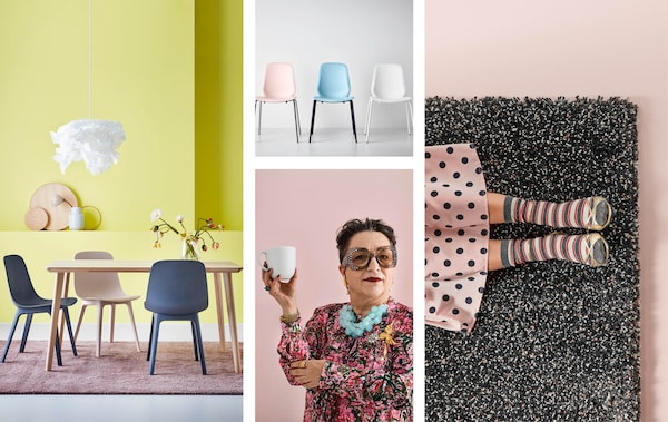 A collage of a dining room, chairs, a woman holding a cup and a rug, all in pastel and bright colours.