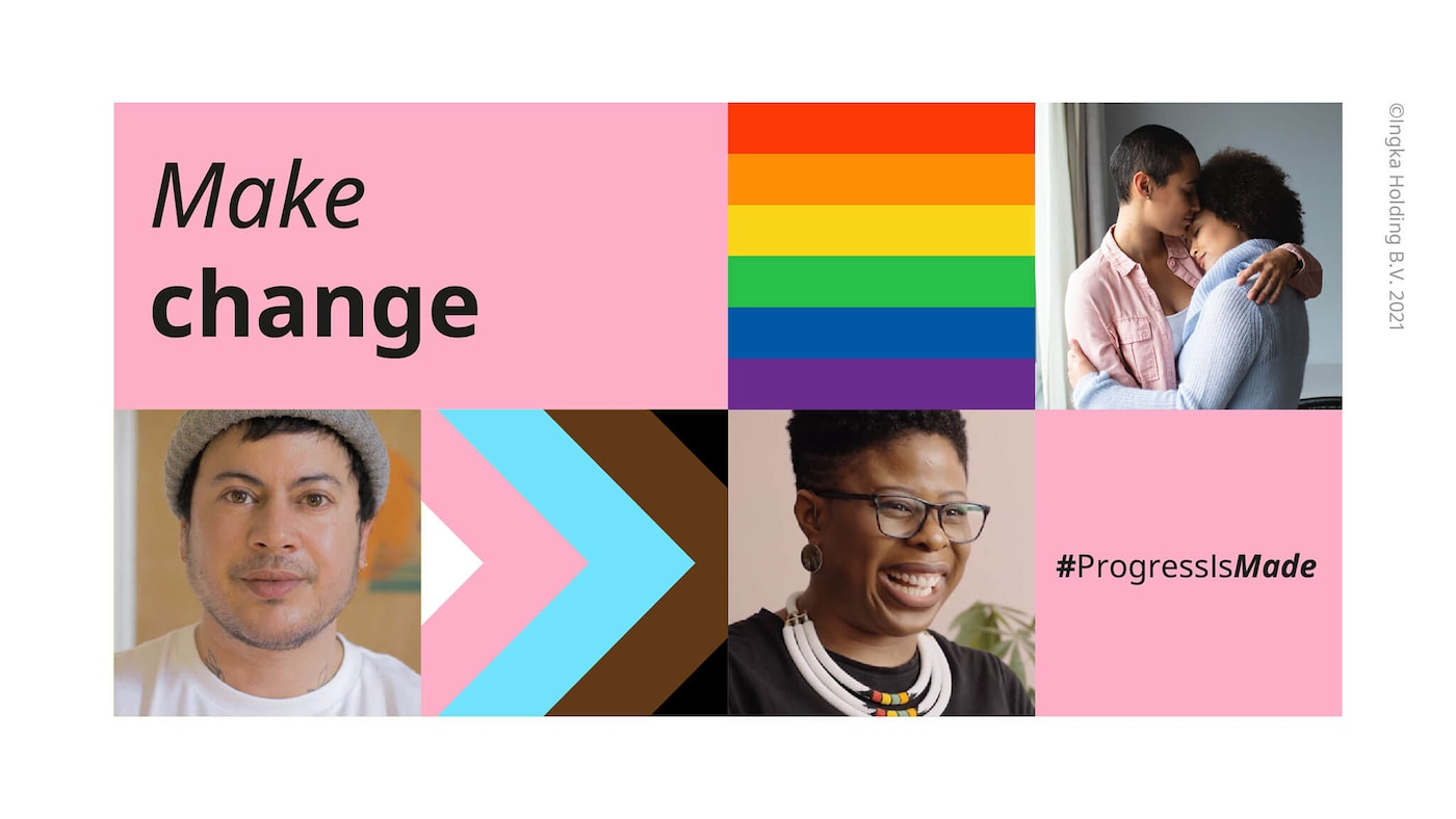 """A collage of a man, a woman, and an LGBT couple with words """"Make change"""" and #ProgressIsMade, with the Pride rainbow colors."""