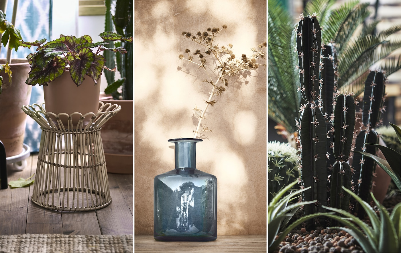 A collage of a rattan plant stand, a blue vase, and an artificial cactus.