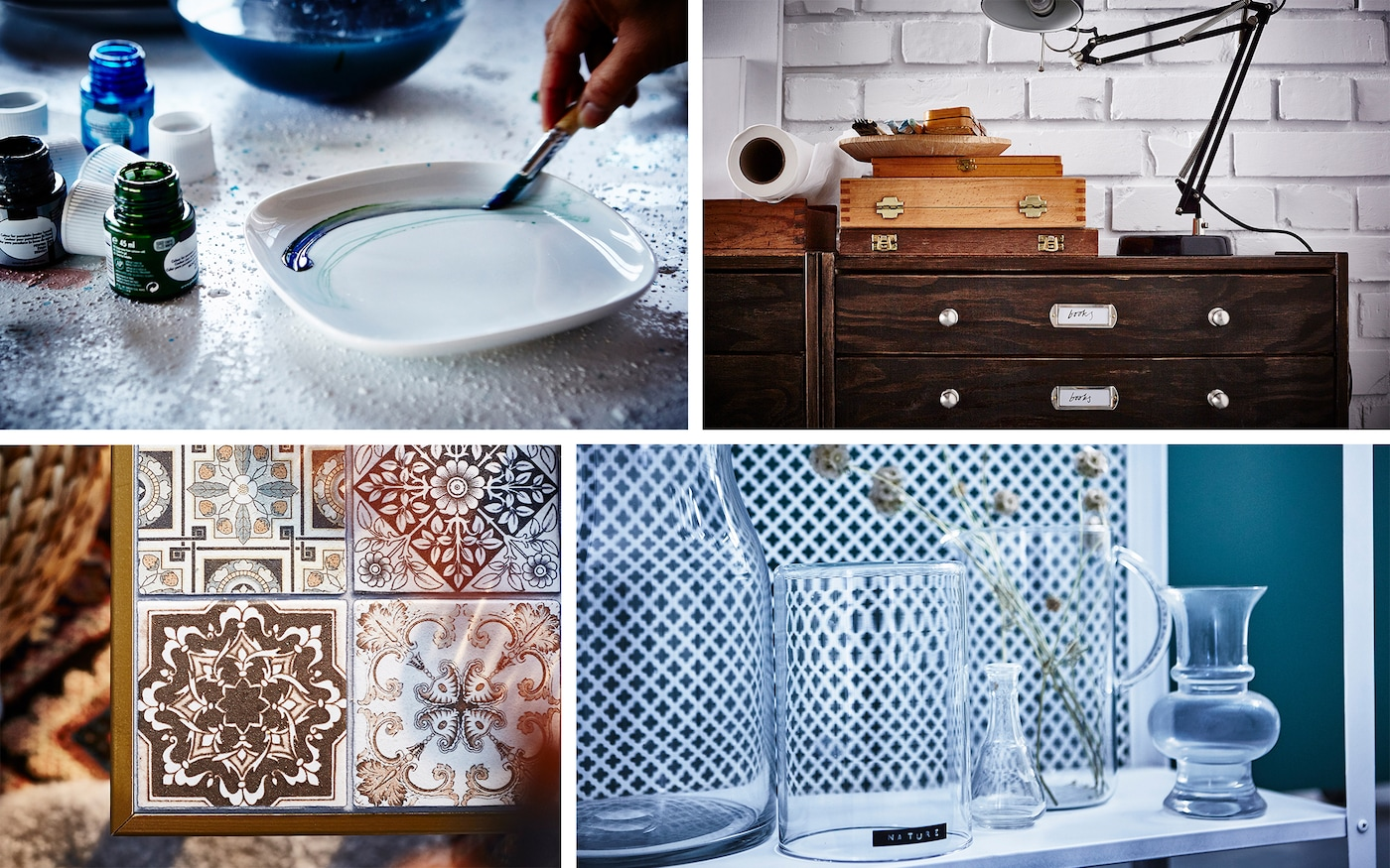 A collage of IKEA hacks: painted plates, a tiled LACK table, a faux-retro chest of drawers, and a painted metal shelf.