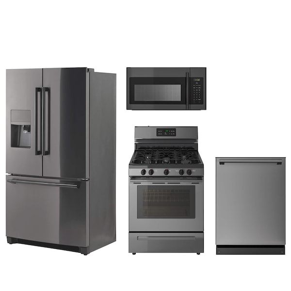 A collage of kitchen appliances in black stainless steel