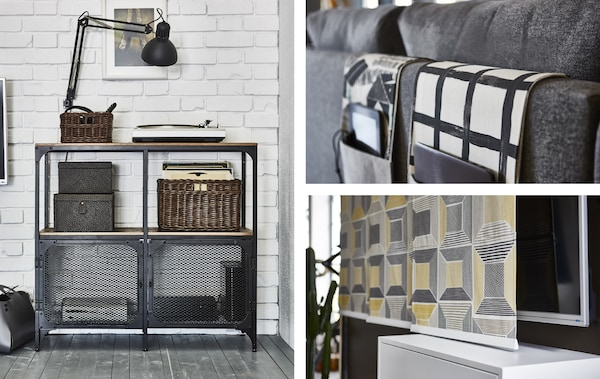 A collage of three images of entertainment storage solutions in an industrial-style living room with white brick walls.