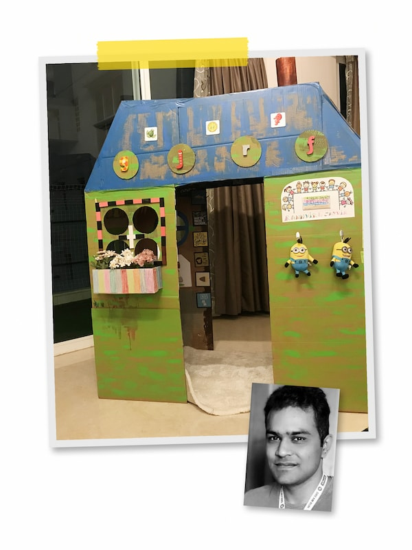 A collage of two images: a hand-painted cardboard playhouse with a rug and soft toys, and a portrait of an IKEA co-worker.