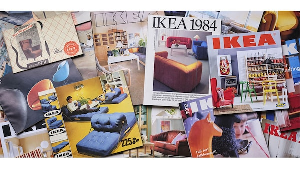 A collage of various colorful IKEA catalogs from various years throughout the decades.