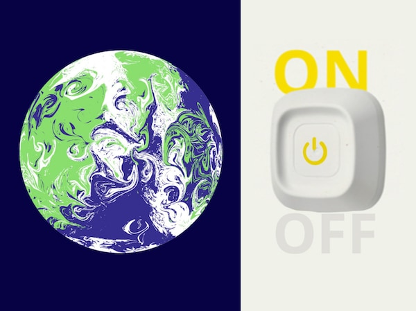 A collage with a green, blue and white illustration of the earth next to a photo of a giant, white power switch.