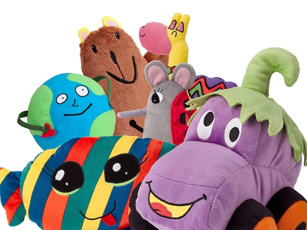 A collection of SAGOSKATT soft toys against a white background.