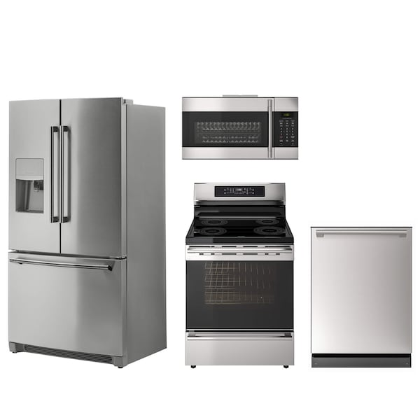 A collection of stainless steel appliances against a white background including a fridge, dishwasher, range and microwave.
