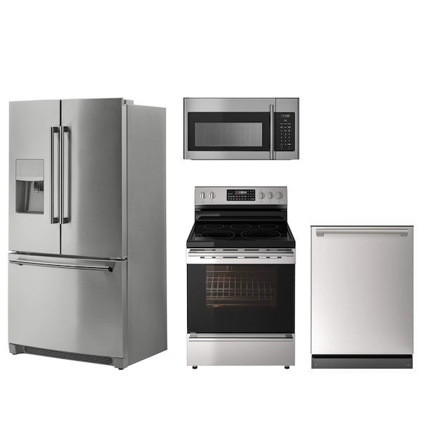 A collection of stainless steel appliances including a fridge, dishwasher, oven and microwave against a white background.