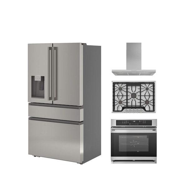 A collection of stainless steel appliances including a large fridge, oven and range hood against a white background.
