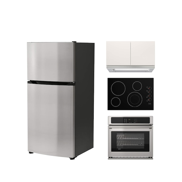 A collection of stainless steel appliances including a one-door fridge, oven, cooktop and hood against a white background.