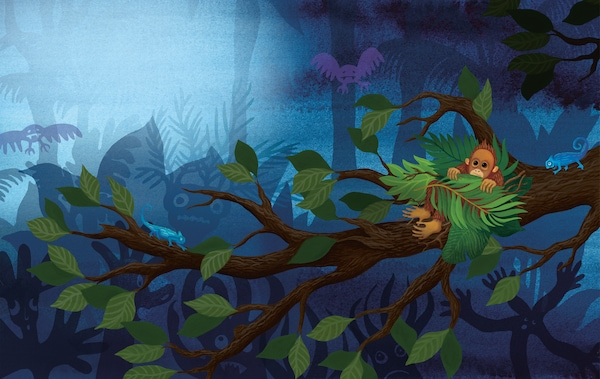 A colorful illustration of a baby orangutan hiding in a tree in the dark.