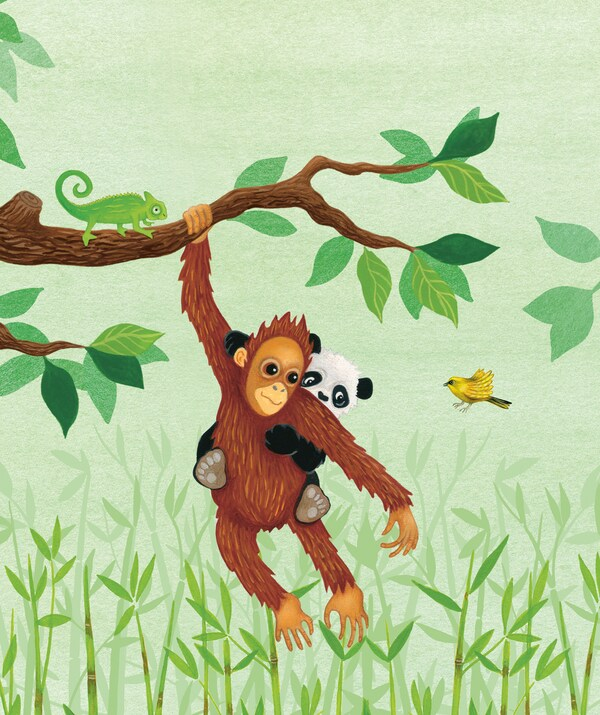 A colorful illustration of an orangutan and panda in the jungle.