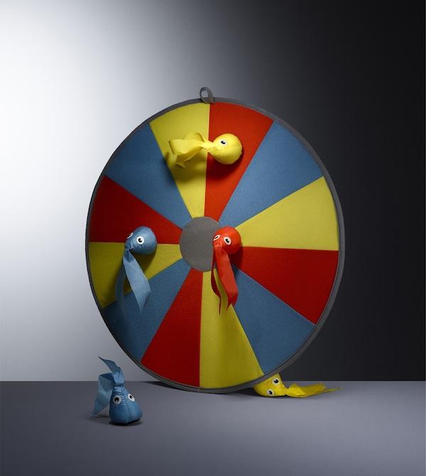 A colourful dart board.