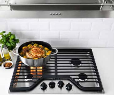 A cooktop with overhead range