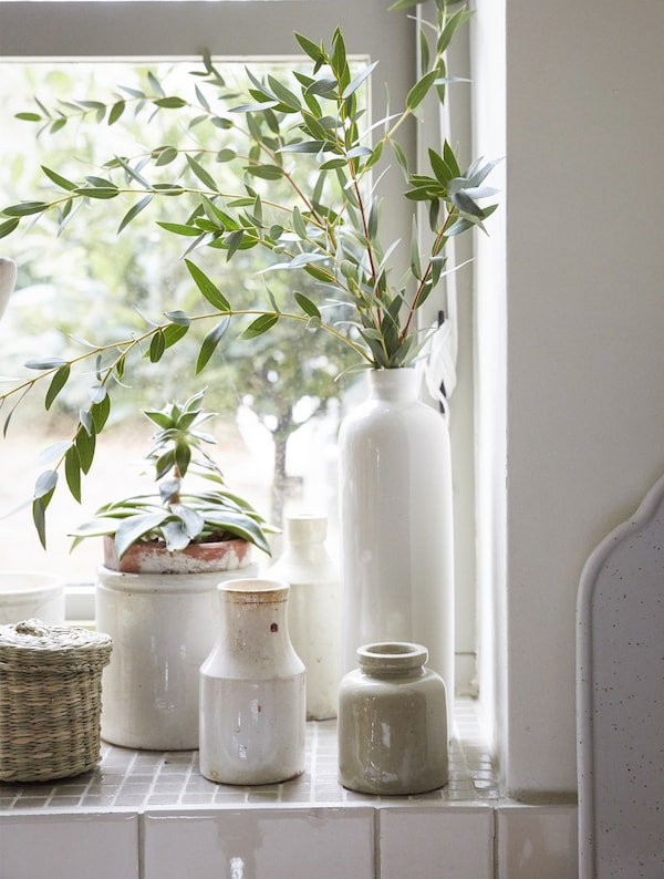 A corner of a windowsill with ceramic pots and plants.