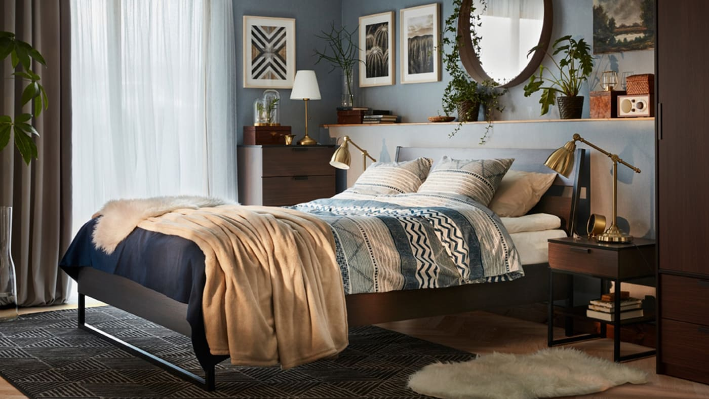 bedroom furniture ikea ikea 11839 | a cozy modern bedroom in blue and brown with a trysil bed be faa228c60723cb53a3fa754bd7b76220 f xxxl