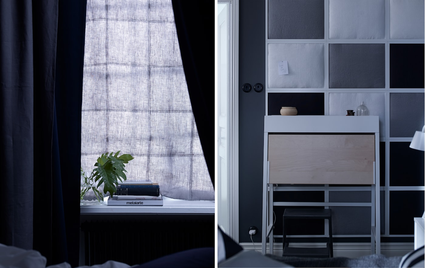 A curtain in front of a window, and a wall made from fabric-filled photo frames. Both are examples of bedroom soundproofing.