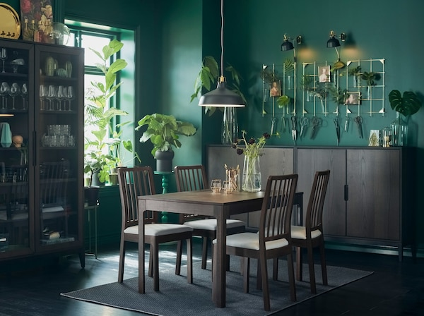 A dark brown EKEDALEN extendable table and chairs in a dining room setting with green walls and an abundance of plants.