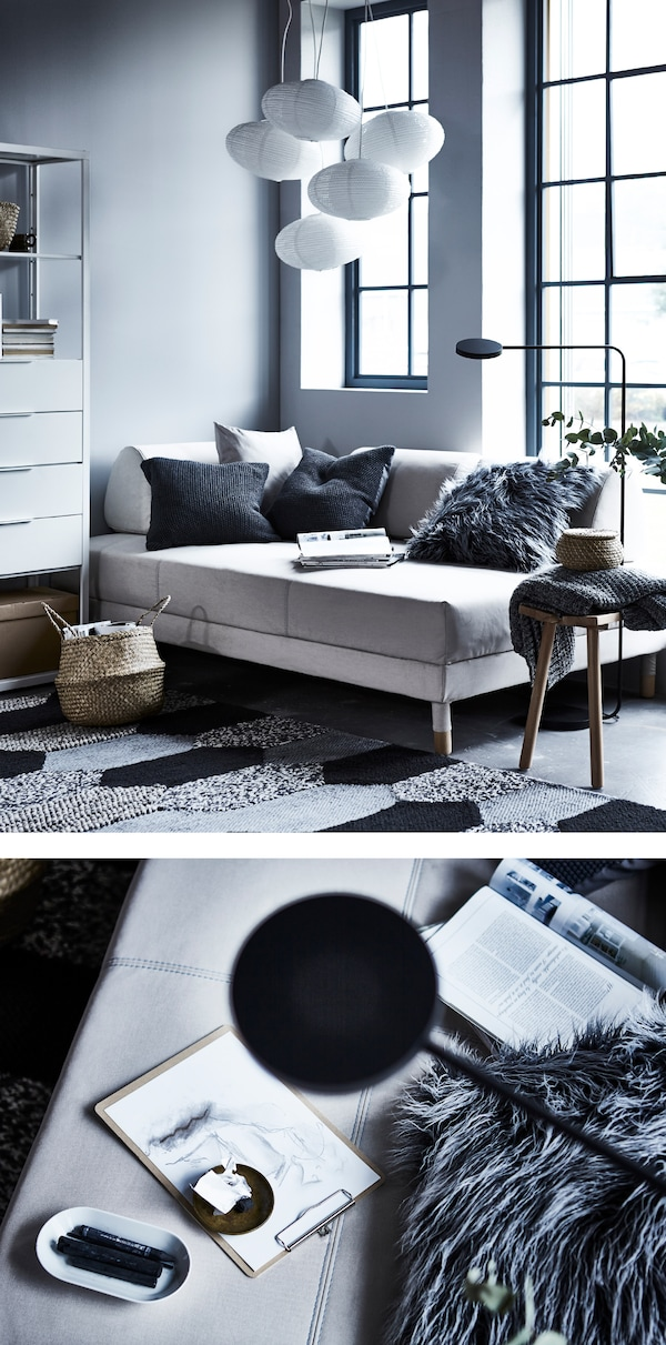 A day bed with lots of soft cushions and perfect lighting makes for a restful retreat.