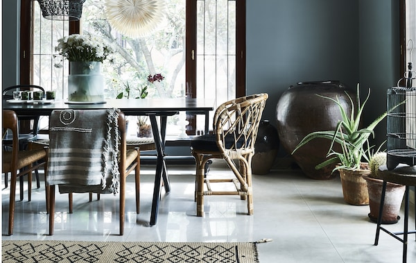 A dining area decorated in an eclectic style.