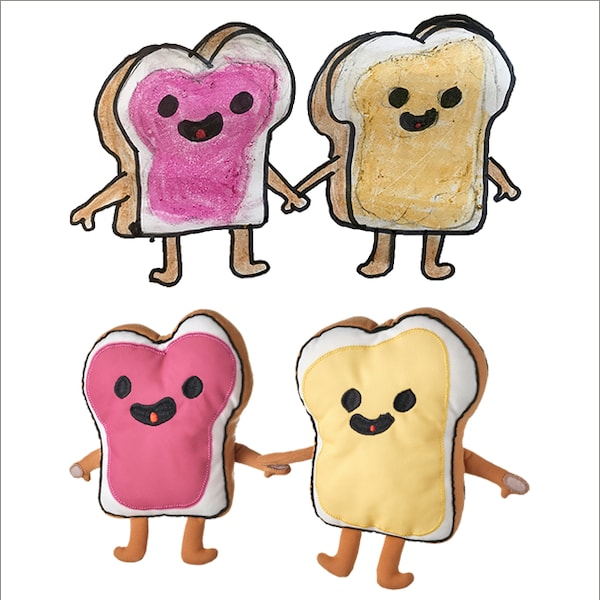 A drawing of a peanut butter and jelly sandwhich holding hands with an actual soft toy of a peanut butter and jelly sandwhich holding hands.