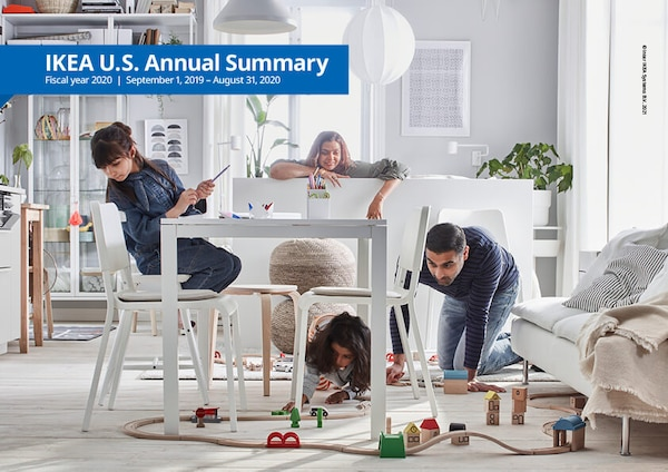 A family in a room with furnishings. Text: IKEA U.S. Annual Summary Fiscal Year 2020. September 1, 2019 - August 31, 2020