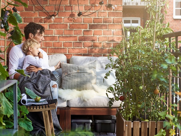 A father and toddler boy, sitting outdoors on comfortable chairs, on a plant-filled balcony.