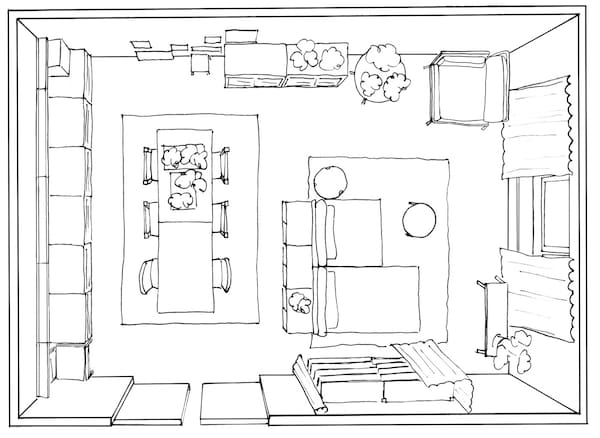 A floor plan of Therese's living room. It is only 29 square meters.