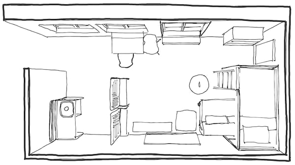 A floor plan sketched by our IKEA interior designer of the small space, with room dividers.