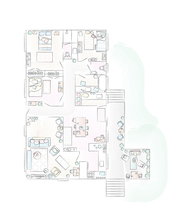 A floorplan of Abeer's home.
