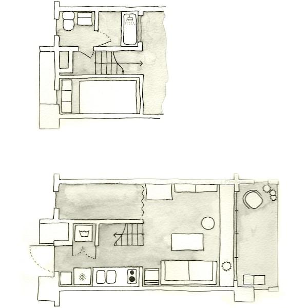A floorplan of Aiko's apartment.