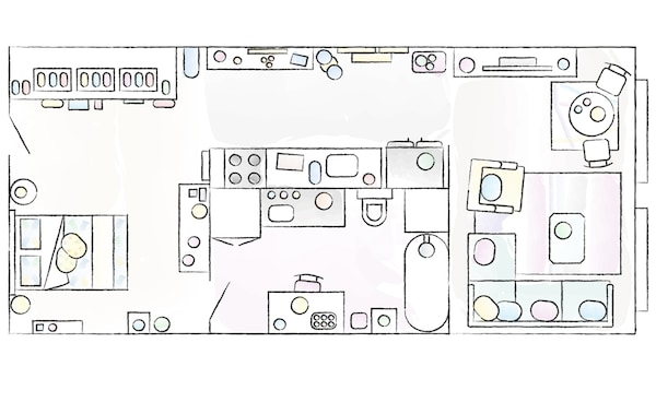 A floorplan of Amina's home.