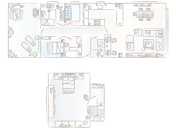 A floorplan of Fiona and Bobby's home.