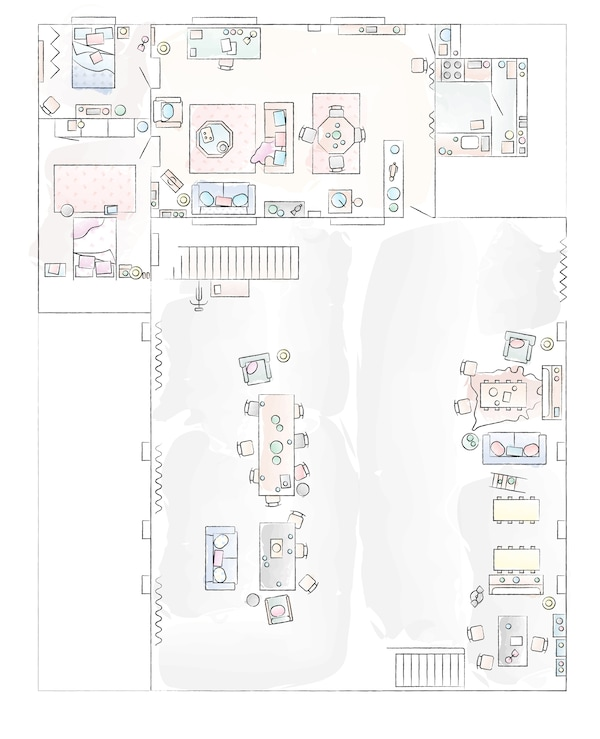 A floorplan of Hannah and Blaine's home.
