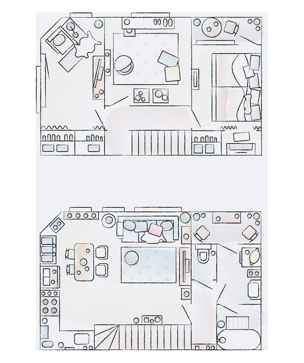 A floorplan of Hiromi and Shunsuke's home.