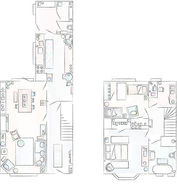 A floorplan of Ilaria and Alberto's home.