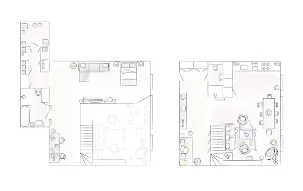 A floorplan of Jules' home.
