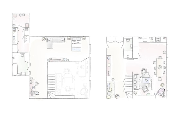 A floorplan of Jules' home, upper and lower levels.