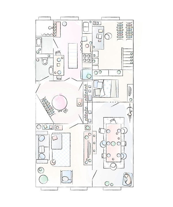 A floorplan of Julia and André's apartment.