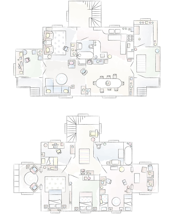 A floorplan of Kasia and Bob's home