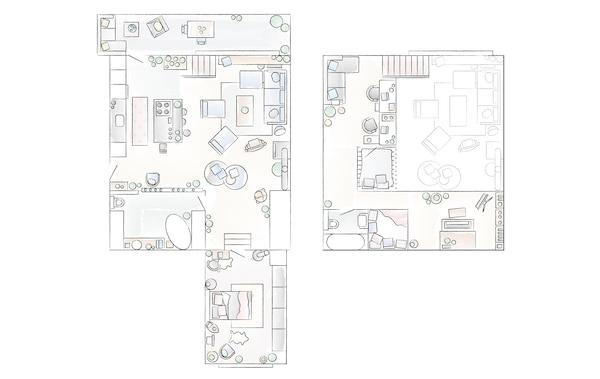 A floorplan of Konstancja and Jurij's apartment.