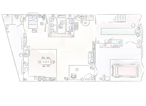 A floorplan of Kyra and Dave's home.