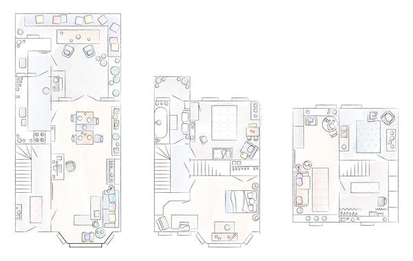 A floorplan of Marrit's home.