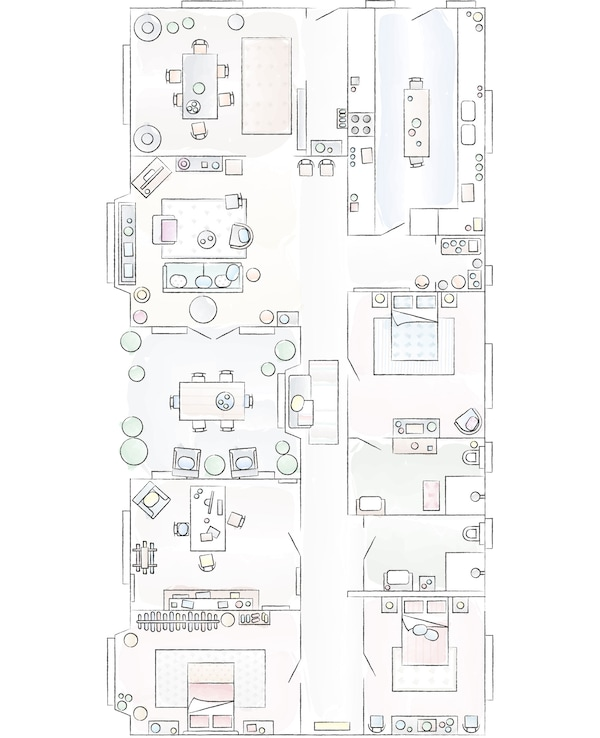 A floorplan of Mia's home.