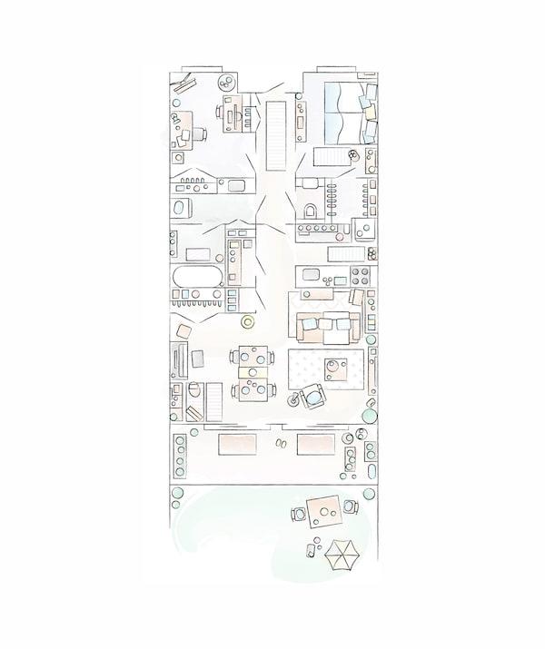 A floorplan of Mieko's home.