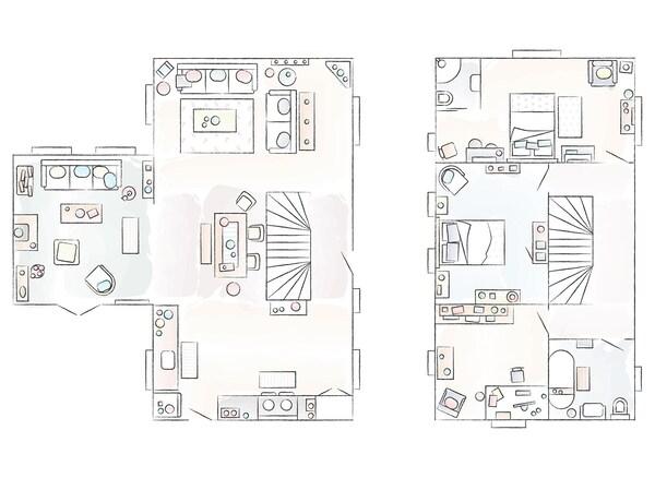 A floorplan of Natalie and Dug's home.