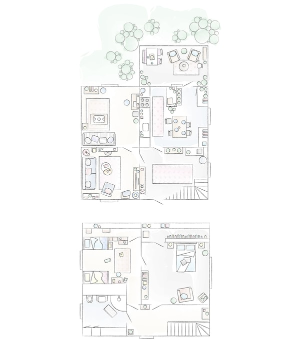 A floorplan of Per and Hannah's home.